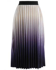 Deeply Gradient Velvet Skirt in Pearl White