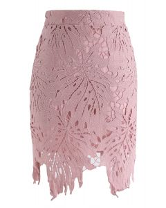Leaf Around Crochet Bud Skirt in Pink