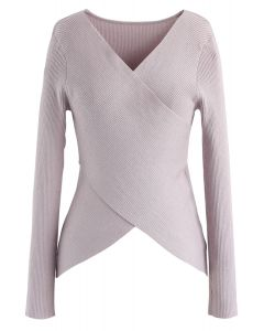 Lust for Freedom Cross Wrap Knit Top in Pink