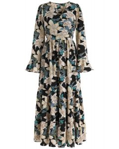 Fragrant Lily Wrap Floral Maxi Dress