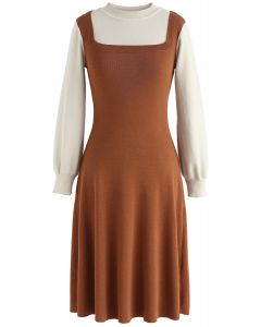 Elegant Identity Fake Two-Piece Knit Dress in Caramel
