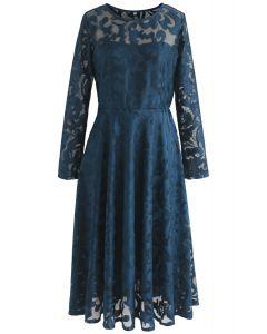 Soiree Stunner Mesh Midi Dress in Teal