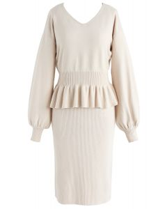 Surrounding Sweetness Knit Twinset Dress in Cream