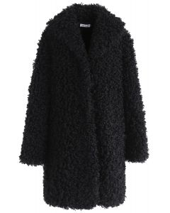 Feeling of Warmth Faux Fur Longline Coat in Black