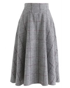 Love of My Life Grid A-Line Skirt