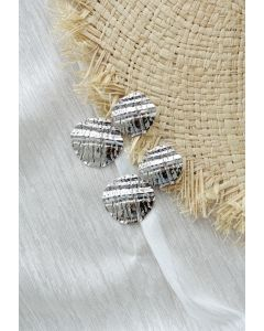 Carved Hammered Silver Earrings