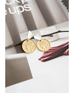 Gold Ancient Greek Coin Drop Earrings