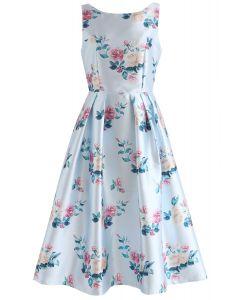 Redolent Peonies Sleeveless Printed Dress