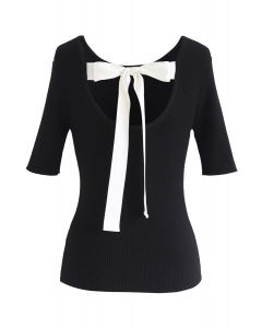 Just for Bowknot Cutout Knit Top in Black