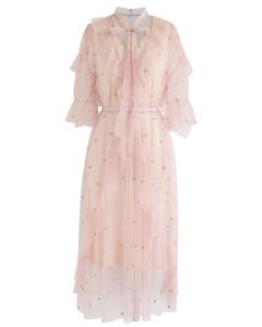 Grasping Stars Tulle Midi Dress in Pink