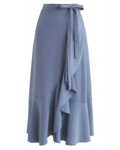 Simple Base Asymmetric Ruffle Midi Skirt in Blue