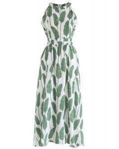 Summer Palm Leaf Print Halter Neck Maxi Dress in Green