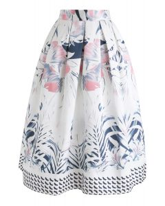 Full-Blown Flowers Printed Midi Skirt