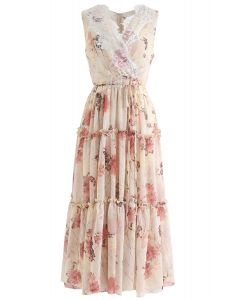 Easy and Breezy Watercolor Chiffon Maxi Dress