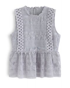 Garden Date Embroidered Sleeveless Sheer Top in Grey