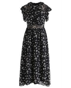 Flying Dandelion Floral Sleeveless Dress