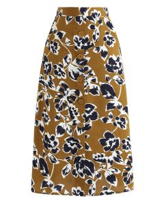 Floral Ting A-Line Midi Skirt in Mustard