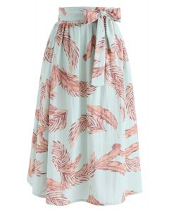 Hands on Me Leaves Printed Midi Skirt in Green