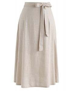 Self-Tied Bowknot A-Line Midi Skirt in Linen