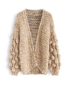 Cuteness on Sleeves Chunky Knit Longline Cardigan in Camel