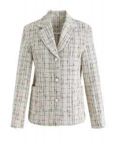 Check Pattern Tweed Button Down Blazer