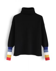 Color Blocked Cuffs Turtleneck Knit Sweater in Black