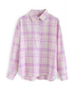 Peppy Plaid Long Sleeves Shirt in Pink