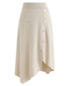 Shell Buttons Trim Asymmetric Knit Skirt in Cream