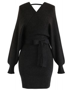 Modern Allure Wrapped Knit Dress in Dark Grey