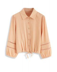 Drawstring Button Front Shirt in Orange