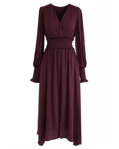 Satin Button Down Wrap Midi Dress in Wine