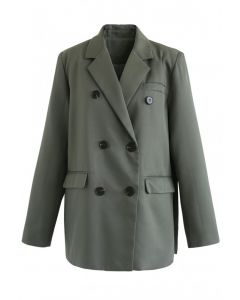 Double-Breasted Split Blazer in Army Green