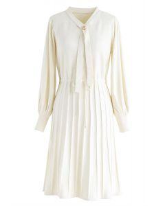 Puff Sleeves Drawstring Pleated Knit Midi Dress in Cream