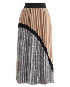 Plaid Splicing Pleated Midi Skirt in Tan