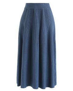 Radiant Lines Knit Midi Skirt in Dusty Blue