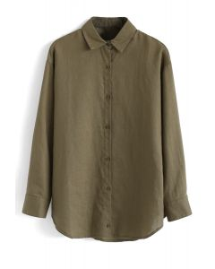 Long Sleeves Button Down Shirt in Army Green