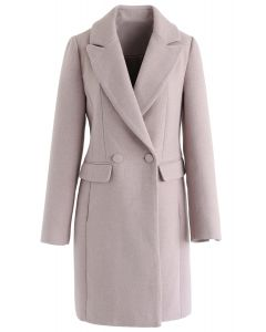 Front Pockets Wool-Blended Longline Blazer in Pink