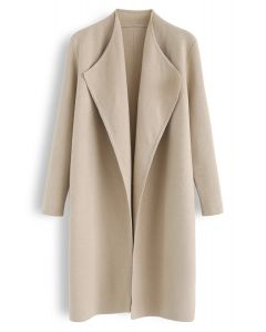 Classy Open Front Knit Coat in Light Tan
