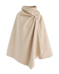 Asymmetric Hem Button Wrap Cape Coat in Light Tan