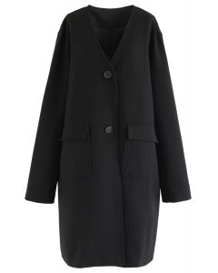 V-Neck Pockets Longline Coat in Black