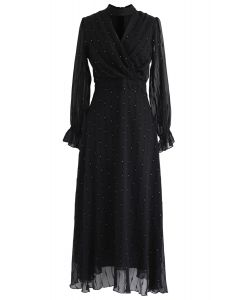 Shiny Dots Wrap Maxi Dress in Black