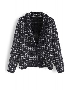 Grid Raw Edge Button Knit Cardigan in Black