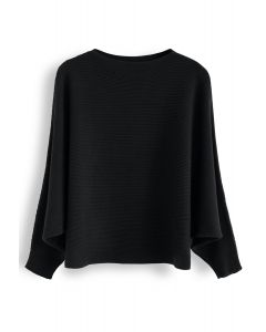 Boat Neck Batwing Sleeves Crop Knit Top in Black