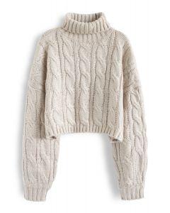 Turtleneck Braid Knit Crop Sweater in Sand