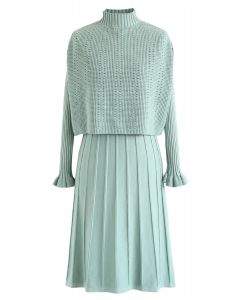 Mock Neck Pleated Knit Twinset Dress in Mint