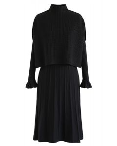 Mock Neck Pleated Knit Twinset Dress in Black