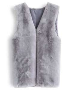 Grey Mid-Length Faux Fur Vest