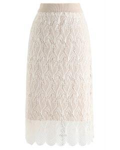 Reversible Lace hem Knit Skirt in Cream