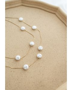 Coin Pearl Double-Layered Chain Necklace