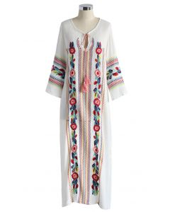 Boho Blossom Maxi Crepe Dress in White
